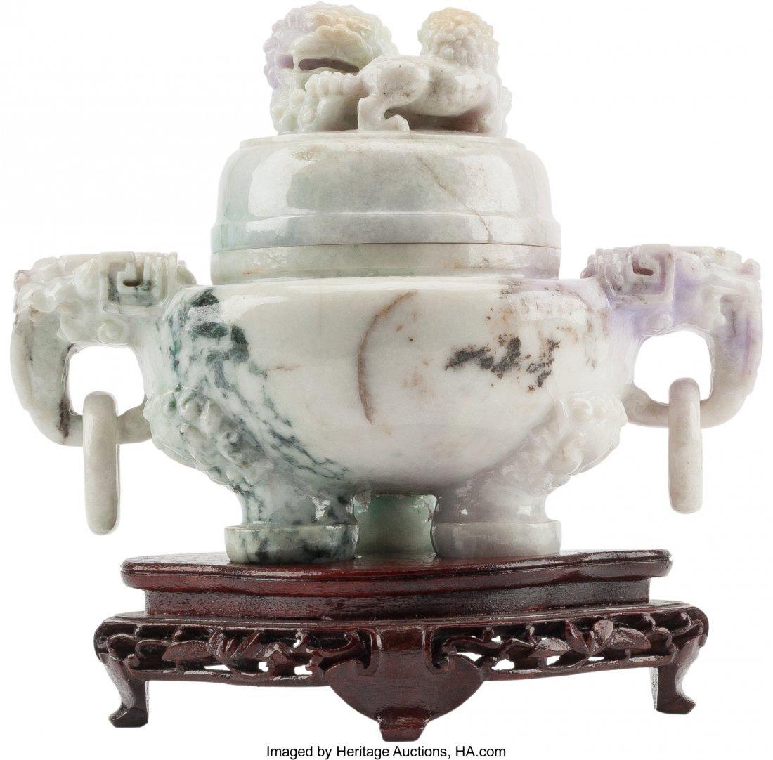 61272: A Chinese Carved Lavender Jade Censer on Hardwoo