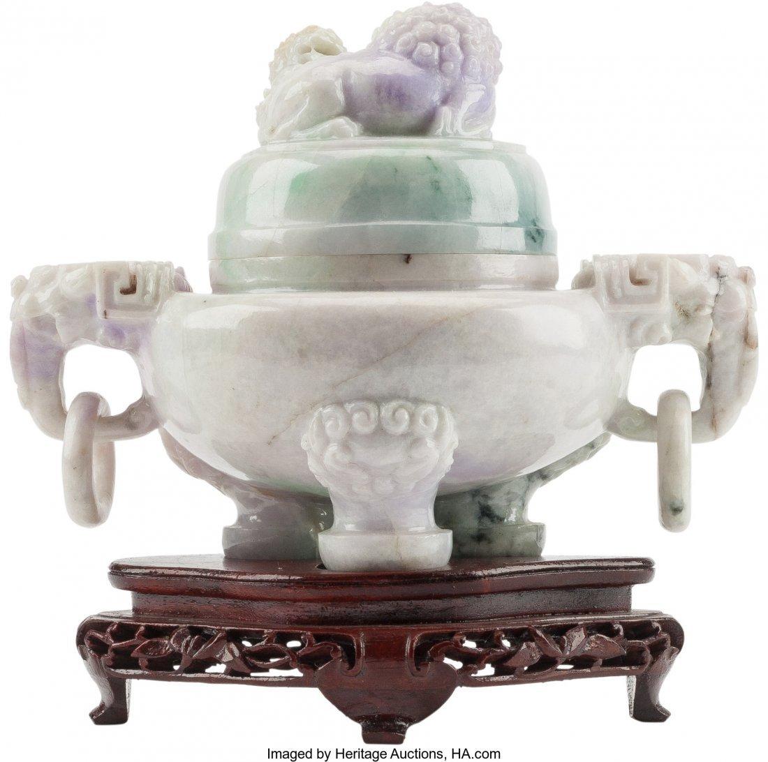 61272: A Chinese Carved Lavender Jade Censer on Hardwoo - 2