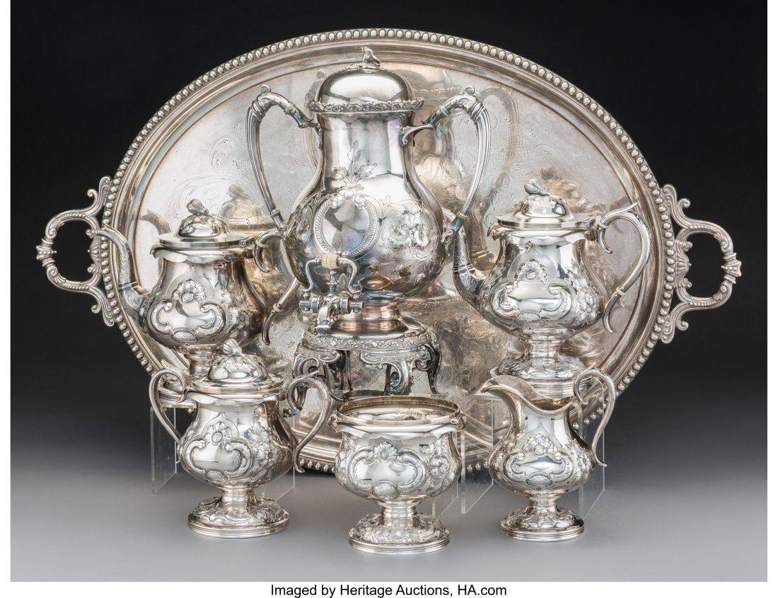 61284: A Five-Piece E & D Kinsey Coin Silver Tea and Co