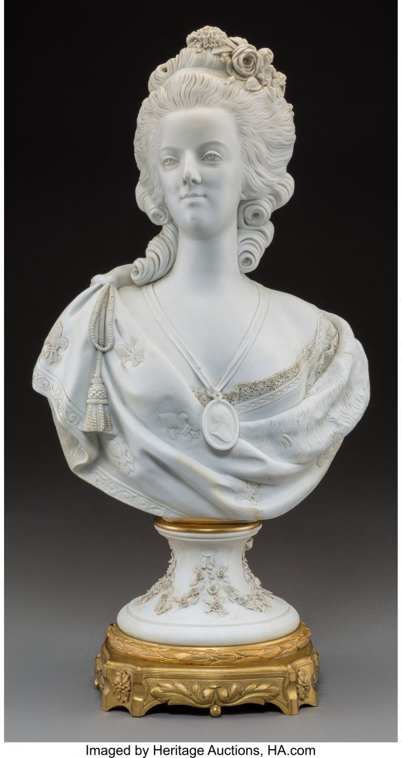61455: A Sevres-Style Bisque Porcelain Bust of Marie An