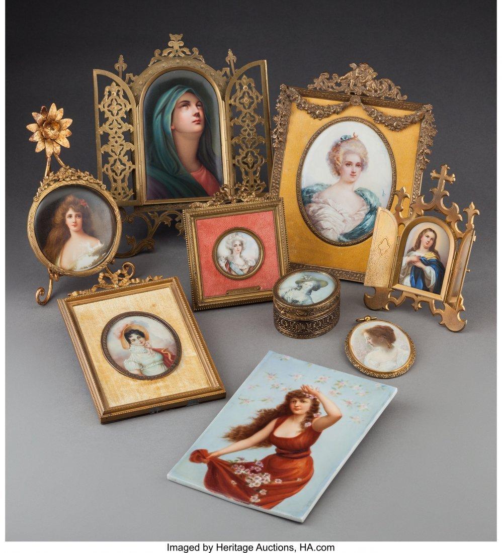 61540: Nine Various Porcelain Cabinet Portrait Plaques