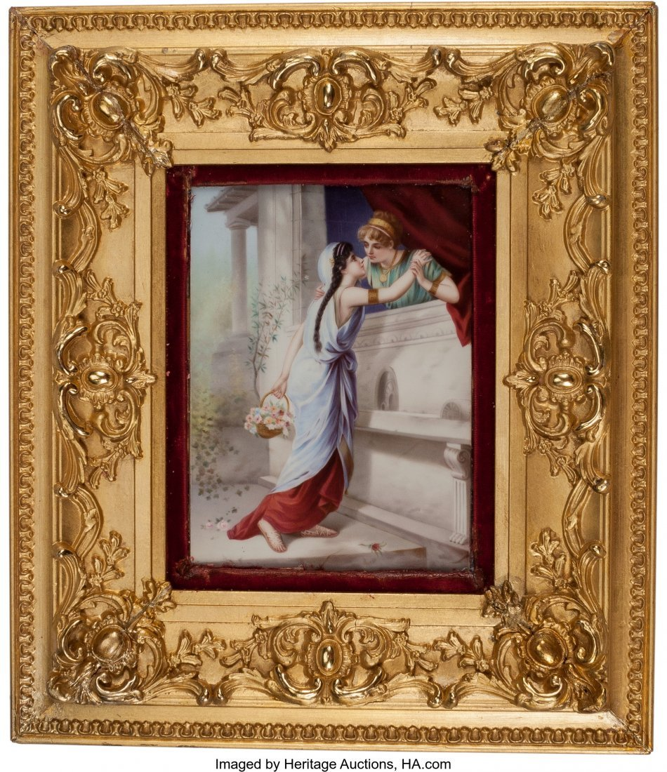 61542: A German Porcelain Plaque Depicting an Amorous C - 3