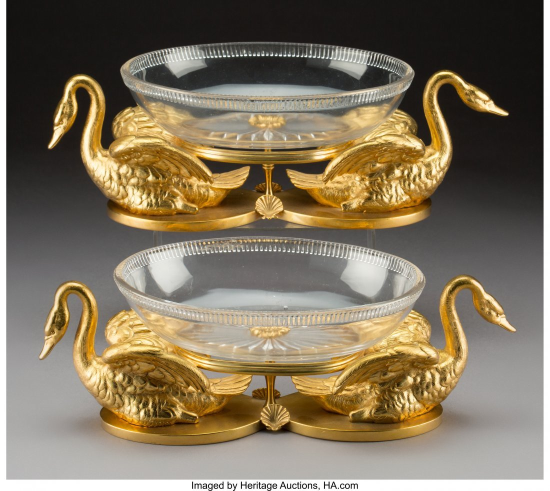 61621: A Pair of Elkington Cut-Glass and Gilt Bronze Sw - 2