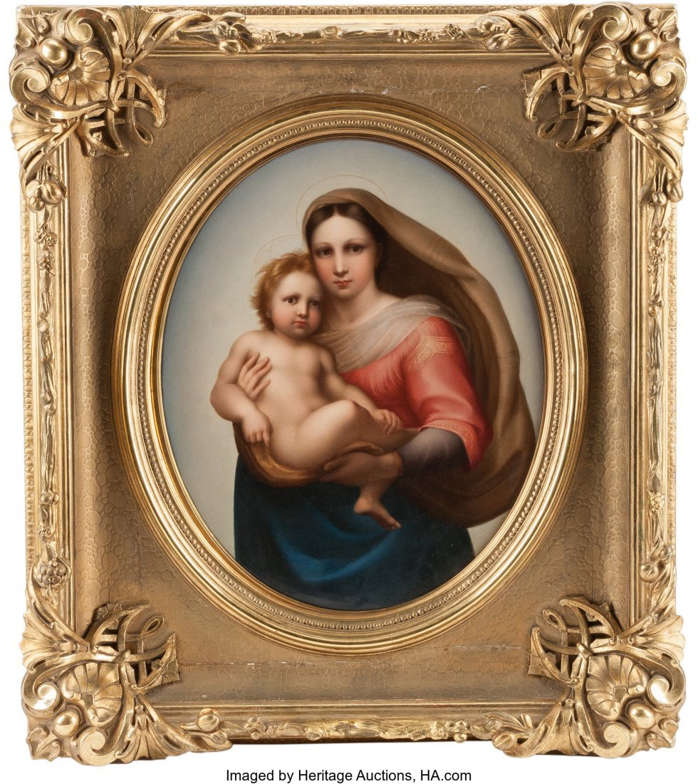 61543: A Large German Porcelain Plaque Depicting Madonn