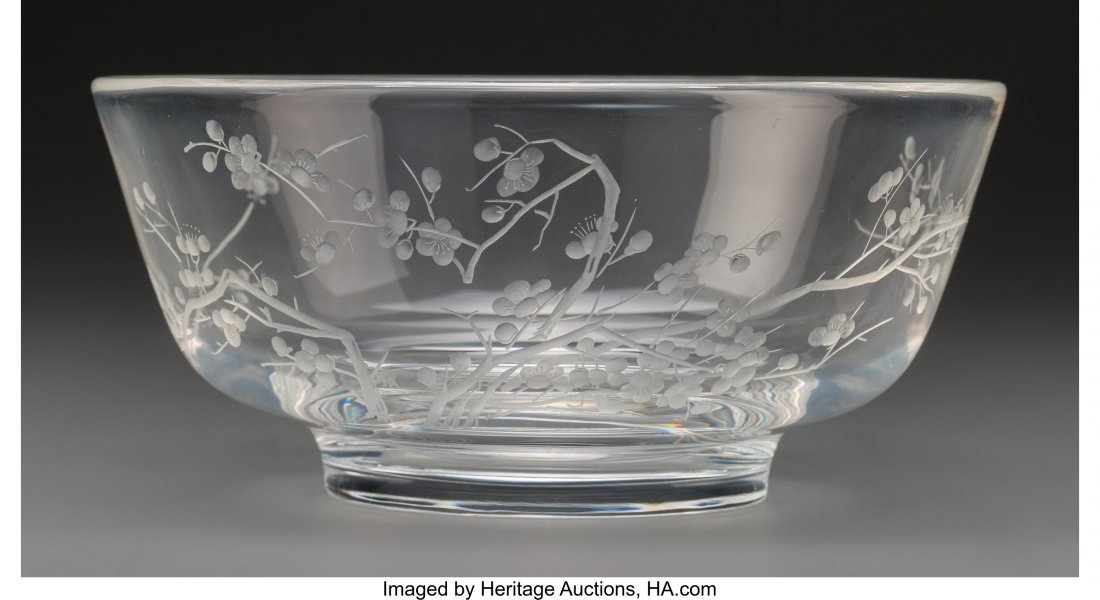 61622: A Steuben Glass Plum Blossom Bowl with Folio, Co