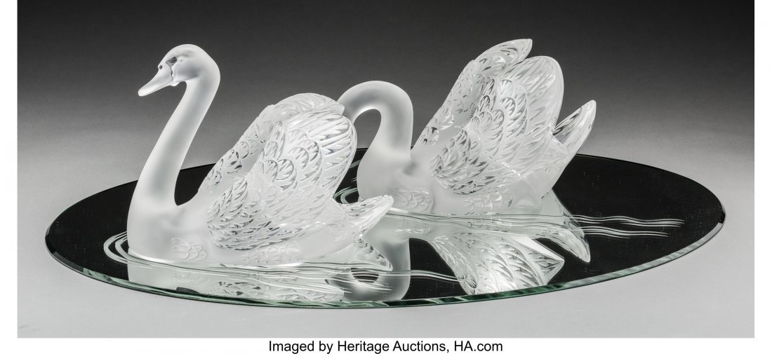 61624: Pair of Lalique Cygne Tete Droite and Cygne Tete - 2