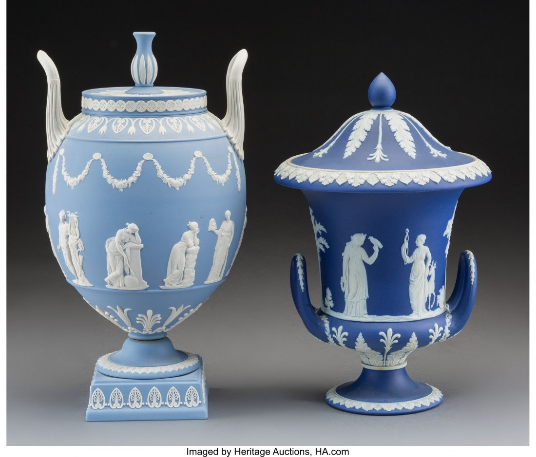 61625: Two Wedgwood Neoclassical Jasperware Covered Urn