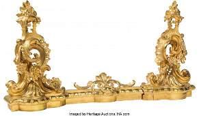 61474 Three Piece Louis XVStyle Gilt Bronze Chenet an