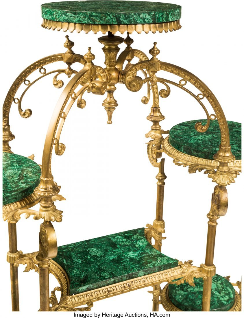 61475: A Louis XV-Style Gilt Bronze and Malachite Étag - 3