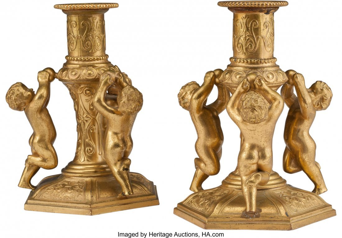 61476: A Pair of Continental Gilt Bronze Figural Candle