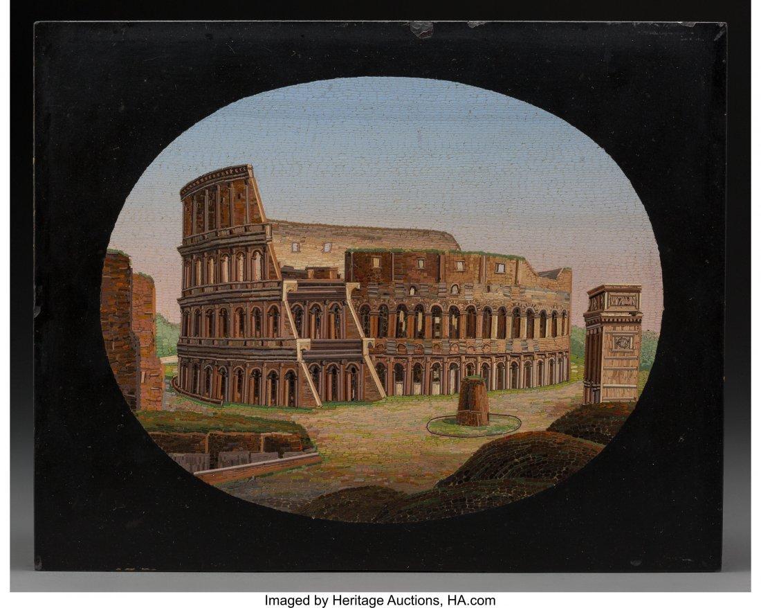 61335: An Italian Grand Tour Micromosaic Plaque Depicti