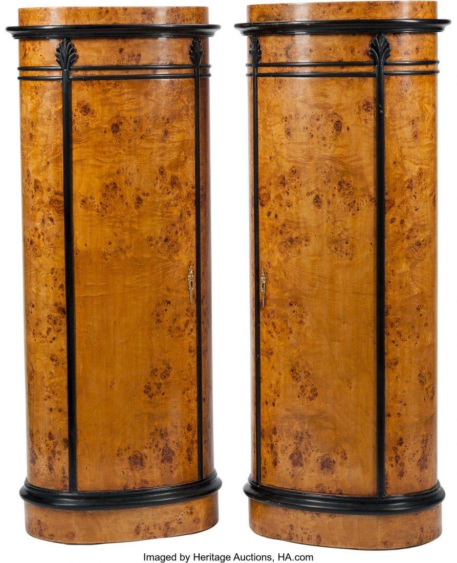 61412: A Pair of Biedermeier-Style Burlwood and Ebonize