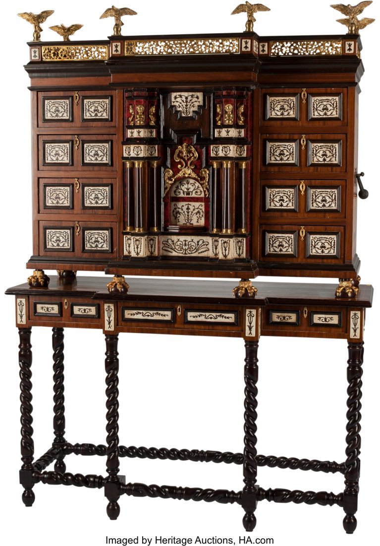 61495: A Spanish-Style Vargueno Desk on Stand 55 h x 35