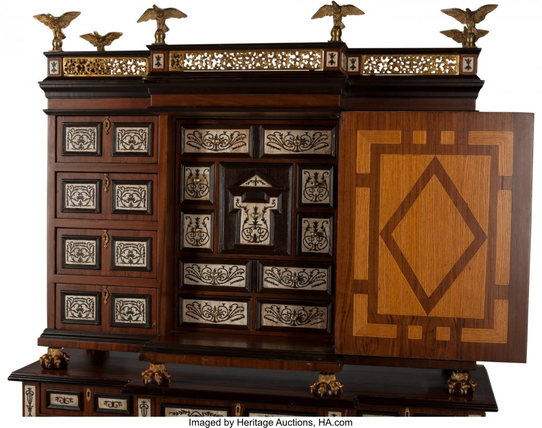 61495: A Spanish-Style Vargueno Desk on Stand 55 h x 35 - 3