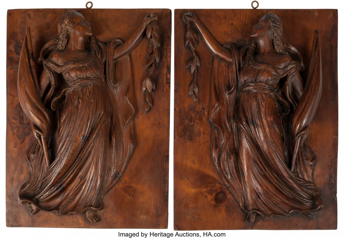 61500: A Pair of Venetian-Style Carved Oak Panels with