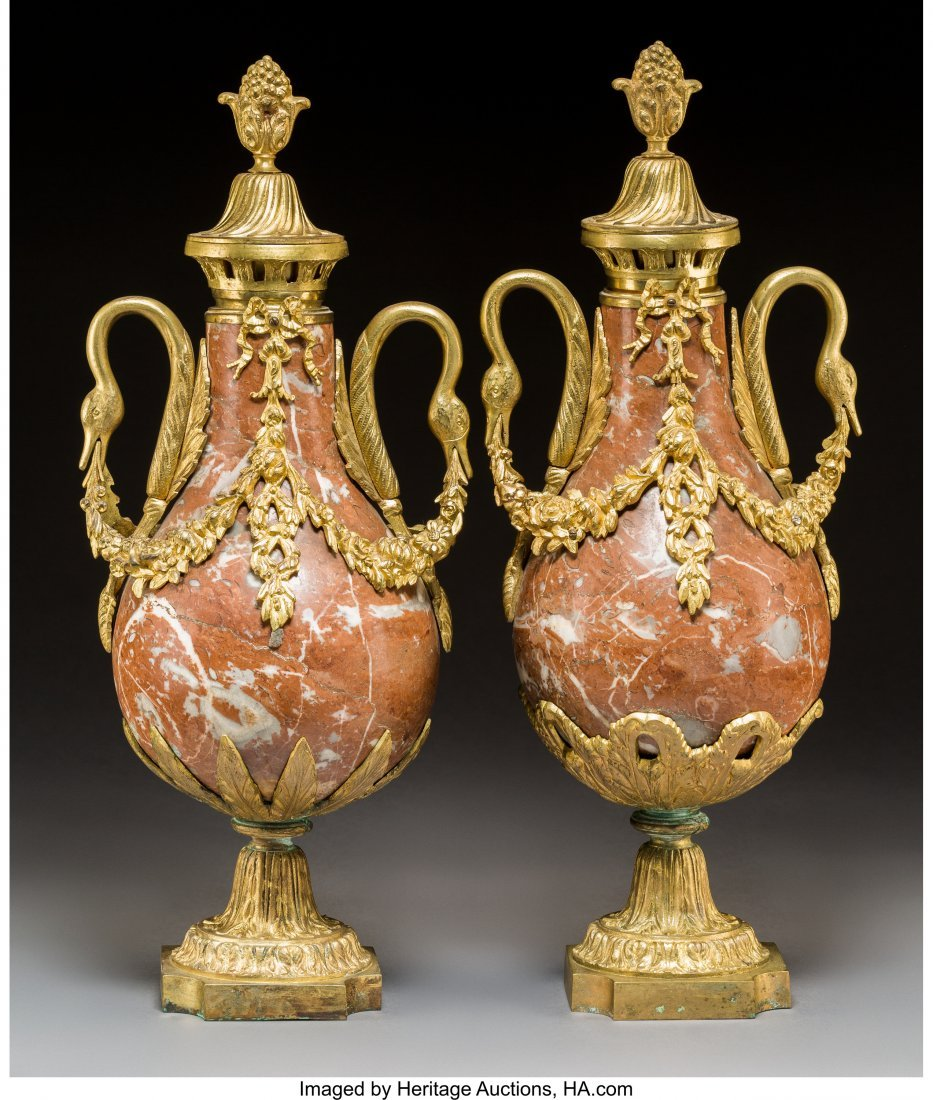 61432: A Pair of Louis XVI-Style Gilt Bronze and Rouge