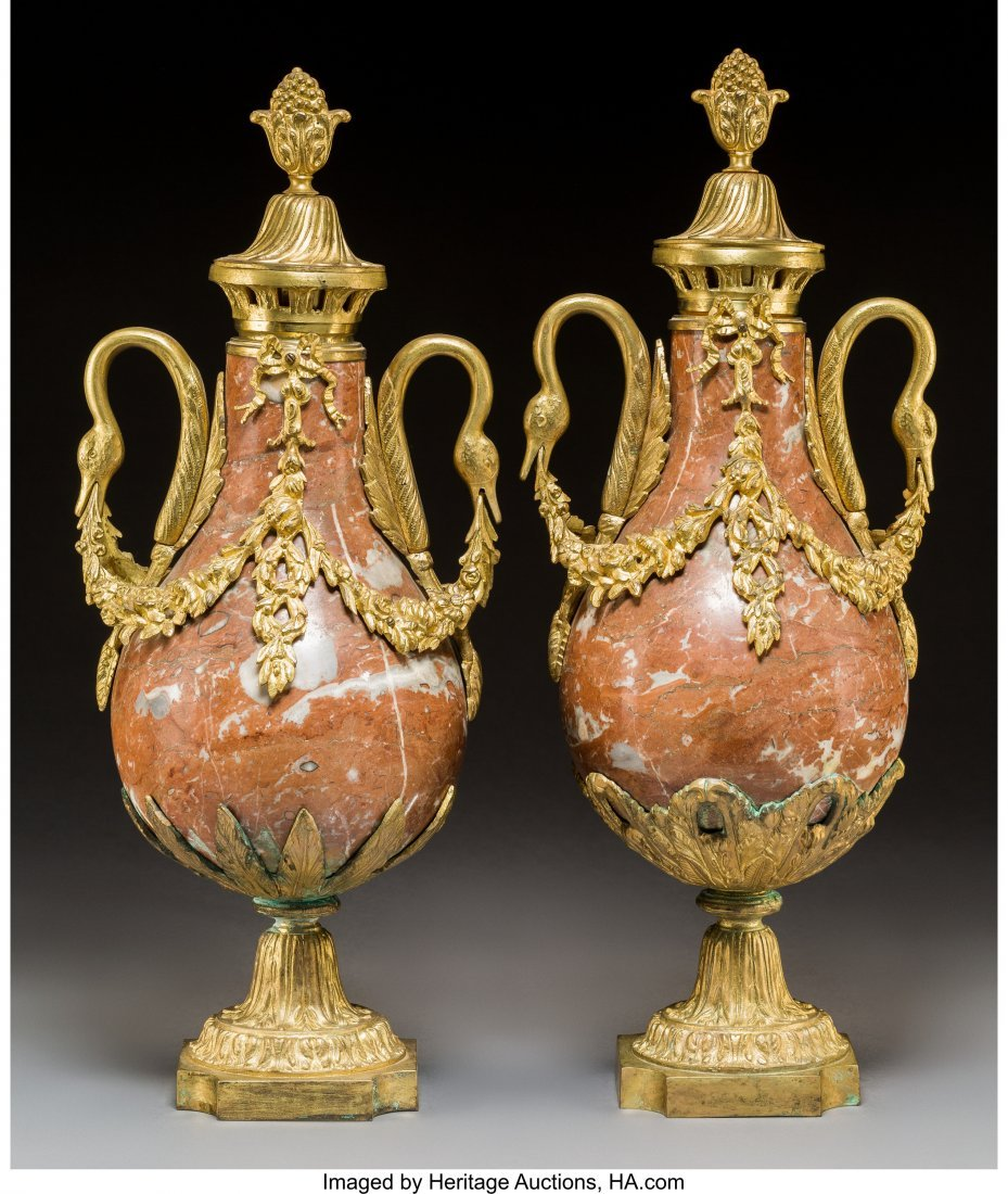 61432: A Pair of Louis XVI-Style Gilt Bronze and Rouge  - 2