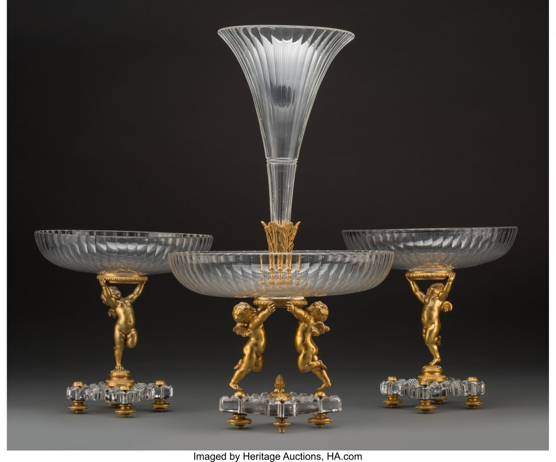 61352: A Three-Piece Baccarat Gilt Bronze and Cut-Glass