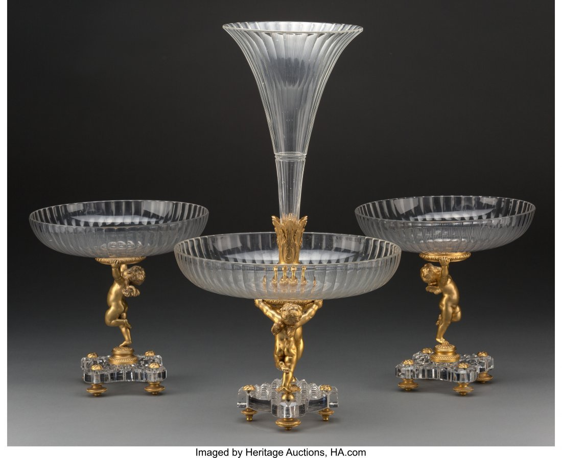 61352: A Three-Piece Baccarat Gilt Bronze and Cut-Glass - 2