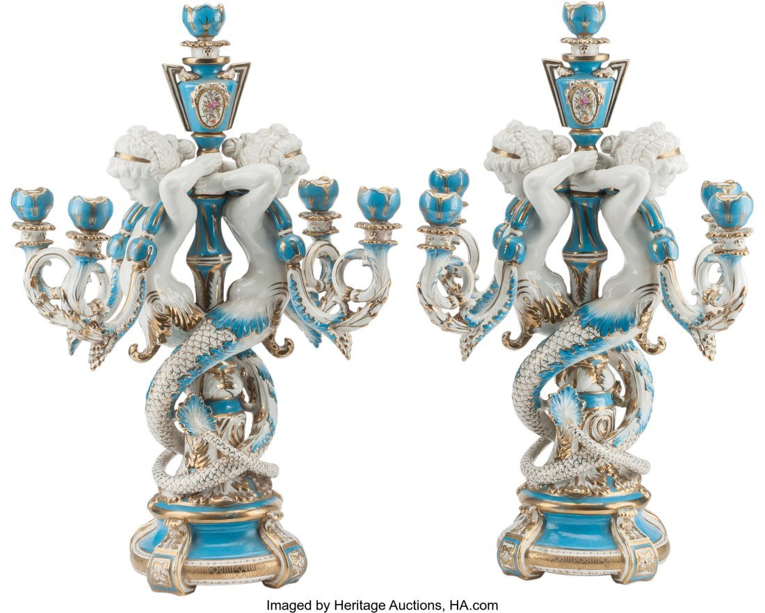 61572: A Pair of Sevres-Style Porcelain Five-Light Cand