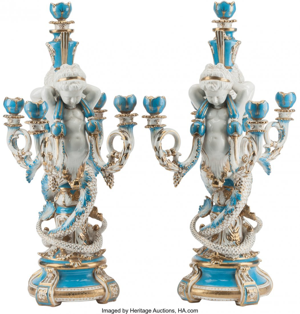 61572: A Pair of Sevres-Style Porcelain Five-Light Cand - 2