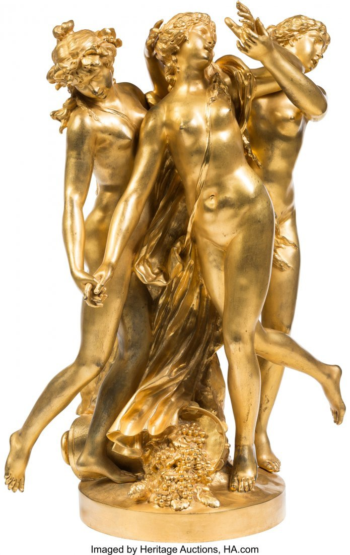 61355: A Large French Gilt Bronze Figural Group After C