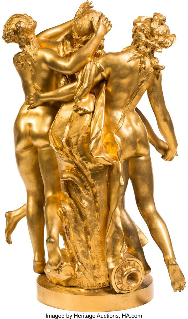 61355: A Large French Gilt Bronze Figural Group After C - 2