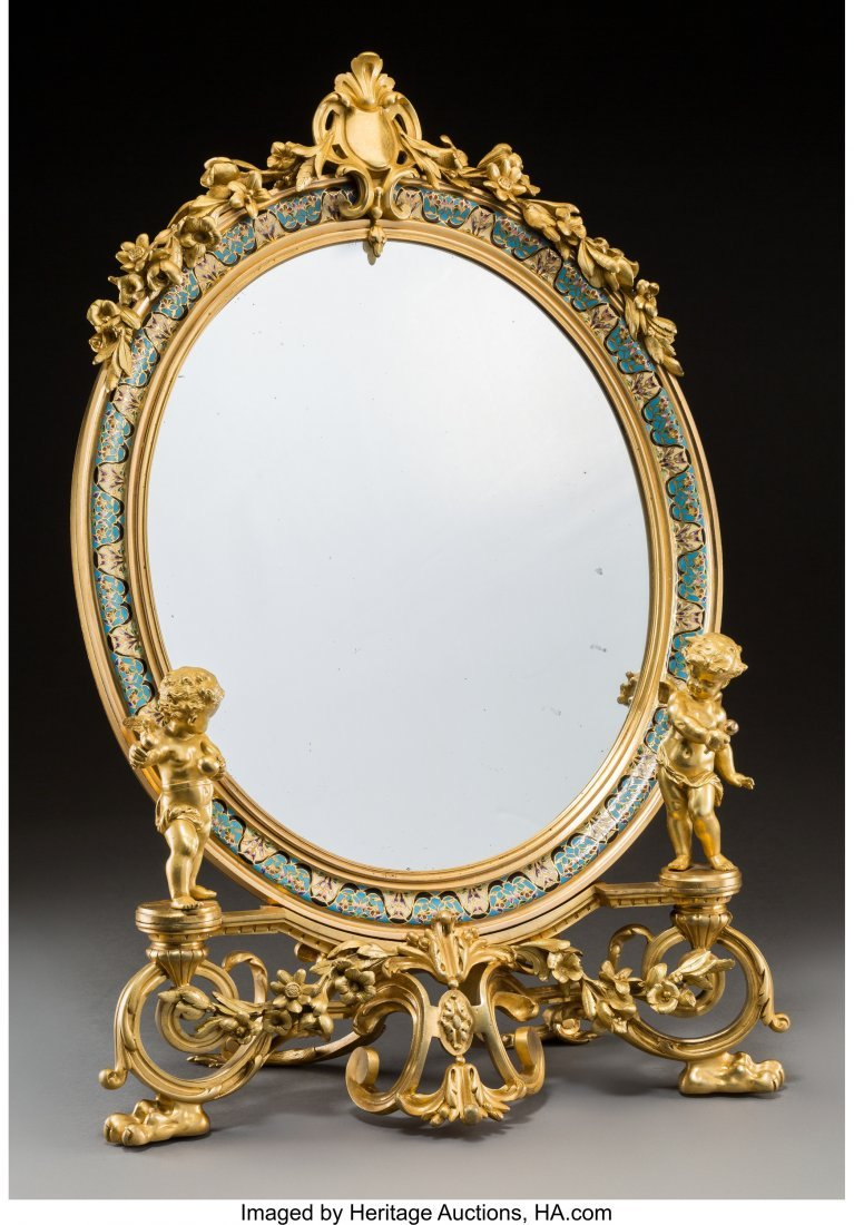 61357: A Fine French Gilt Bronze and Champleve Figural