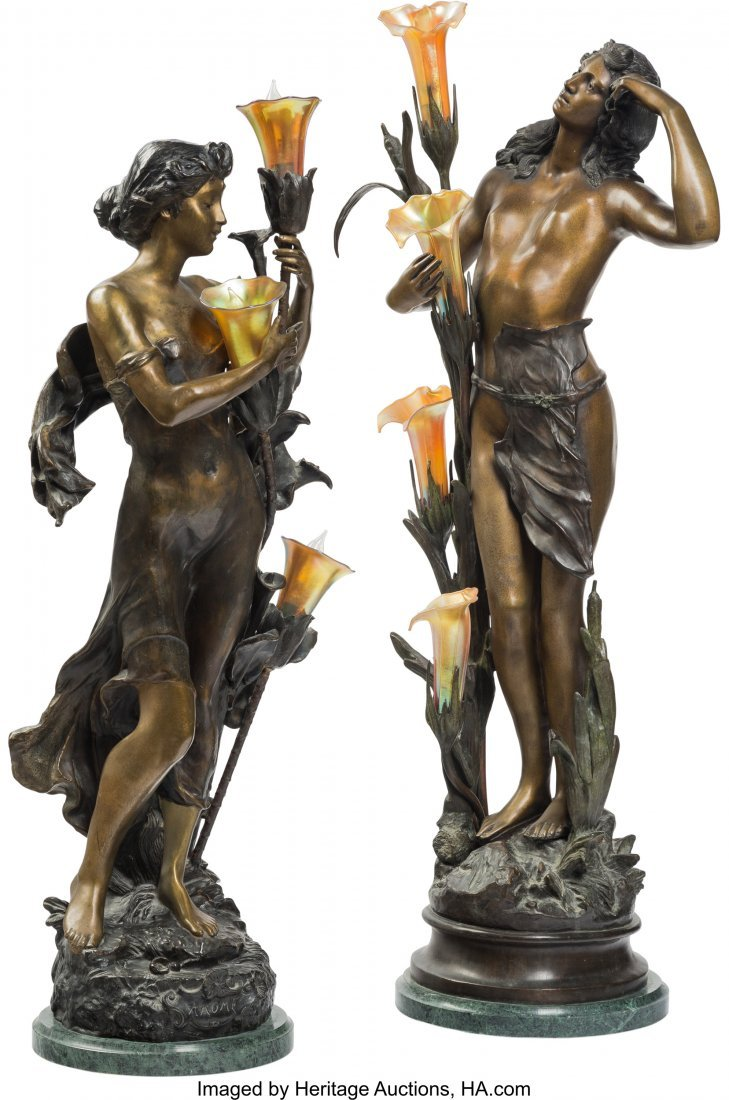 61359: Two Tall Bronze and Iridescent Glass Figural Lam
