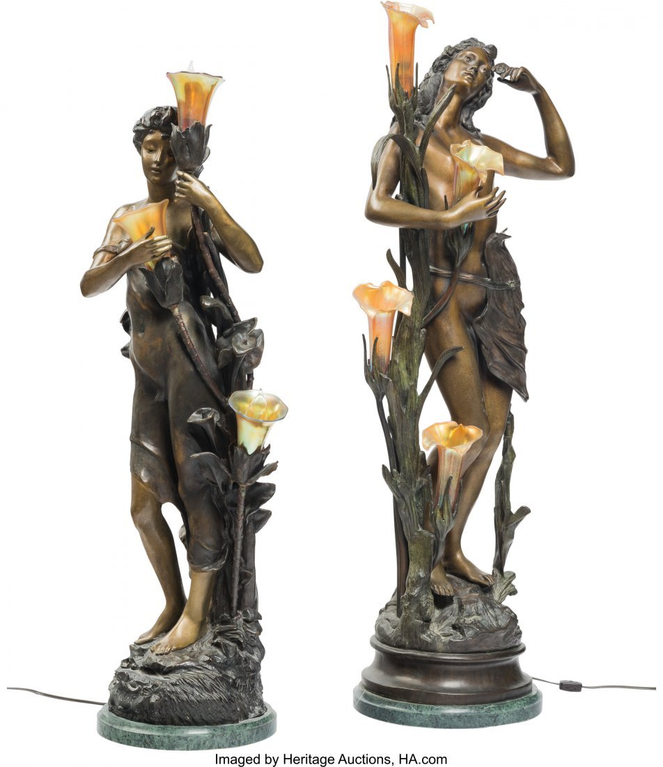 61359: Two Tall Bronze and Iridescent Glass Figural Lam - 2