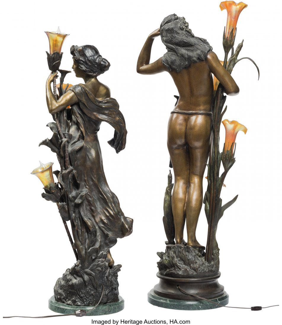 61359: Two Tall Bronze and Iridescent Glass Figural Lam - 3