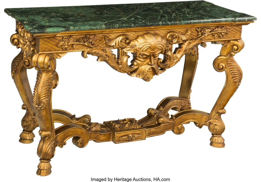 61446: A Régence-Style Giltwood and Marble Center Tabl