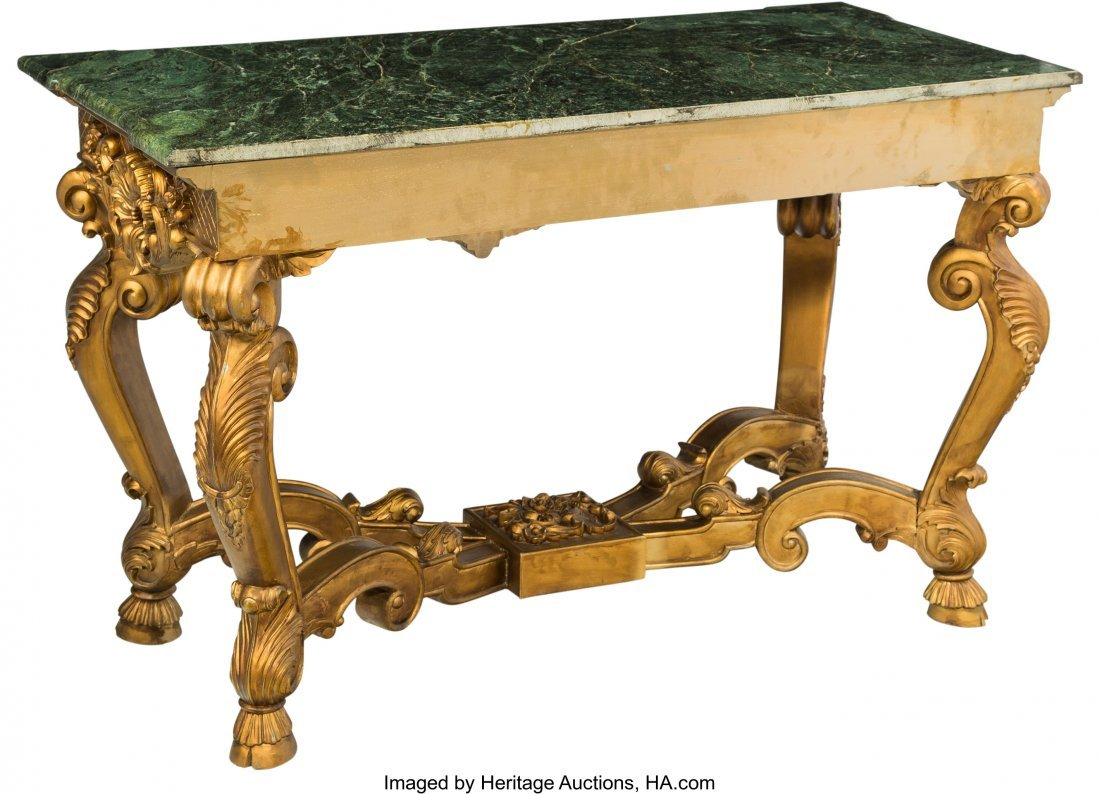 61446: A Régence-Style Giltwood and Marble Center Tabl - 2