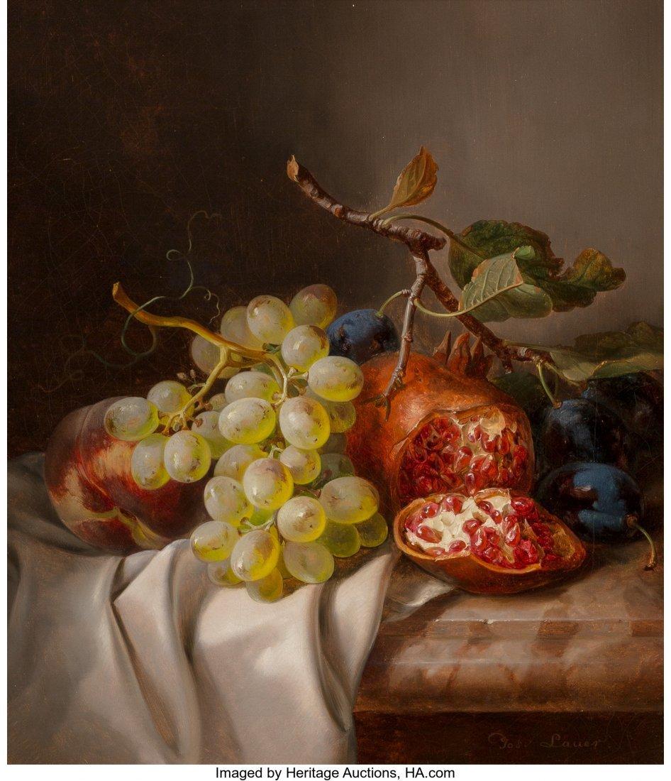 61368: Josef Lauer (German, 1818-1881) Still Life with