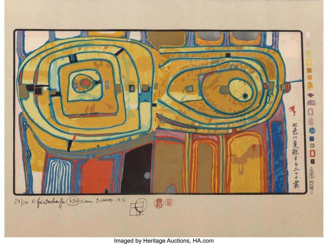 61704: Friedensreich Hundertwasser (1928-2000) Two Clou