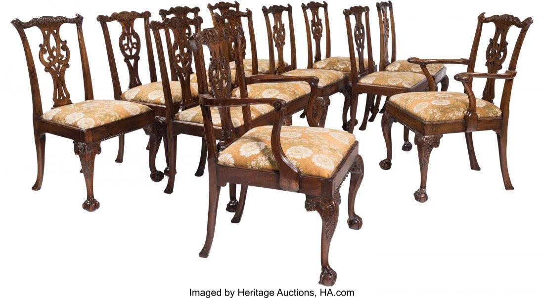 61607: Twelve George III Mahogany Dining Chairs, 18th c