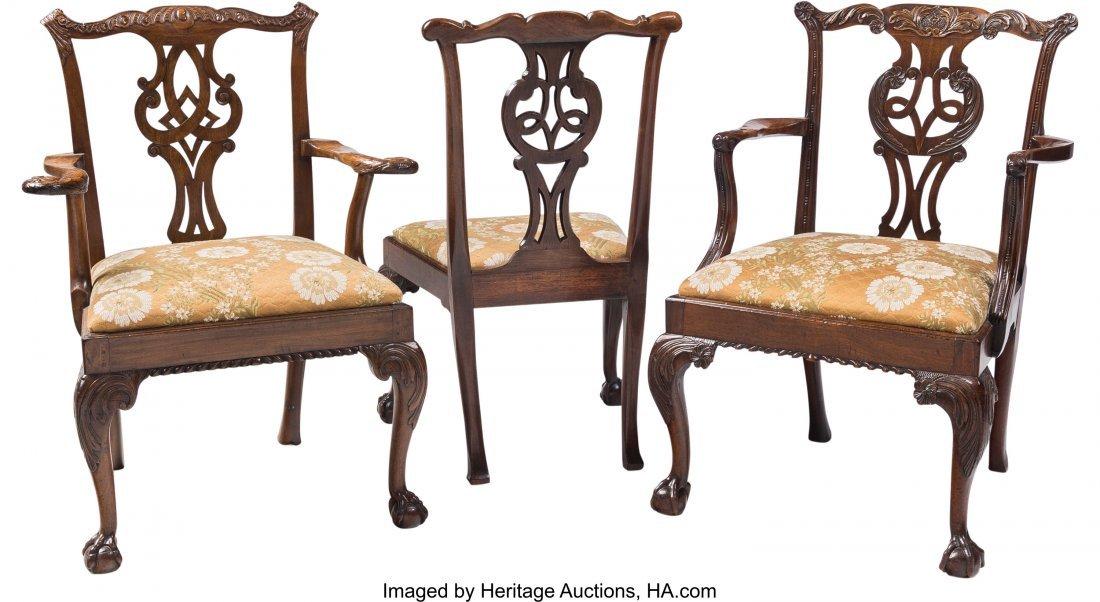 61607: Twelve George III Mahogany Dining Chairs, 18th c - 2