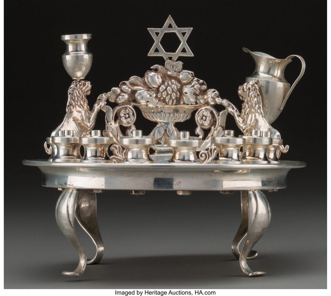 61805: A Norbert Mfg. Co. Judaica Silver Oil Menorah Di