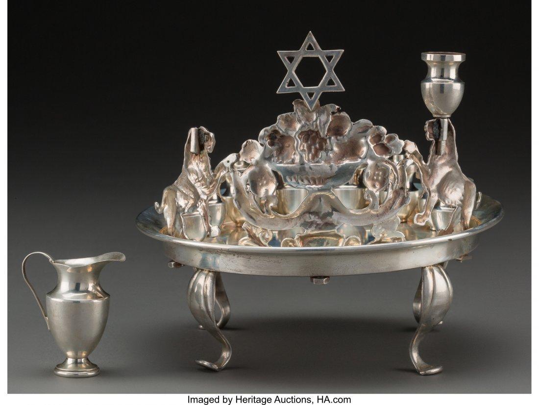 61805: A Norbert Mfg. Co. Judaica Silver Oil Menorah Di - 2