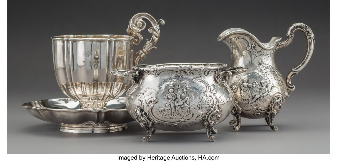 61806: Four French and German Silver Tablewares, late 1