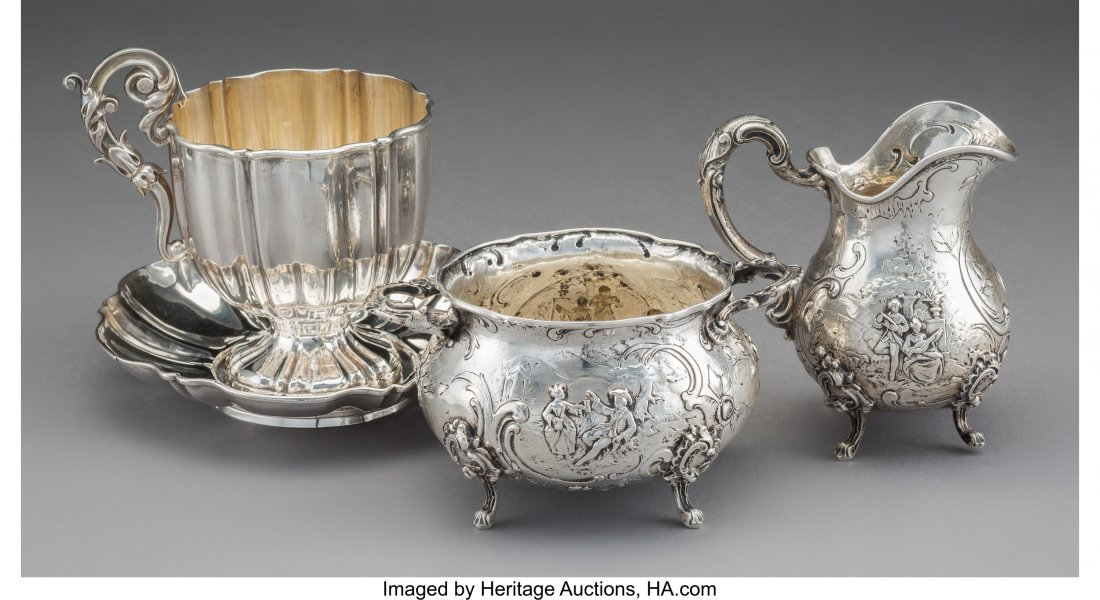 61806: Four French and German Silver Tablewares, late 1 - 2