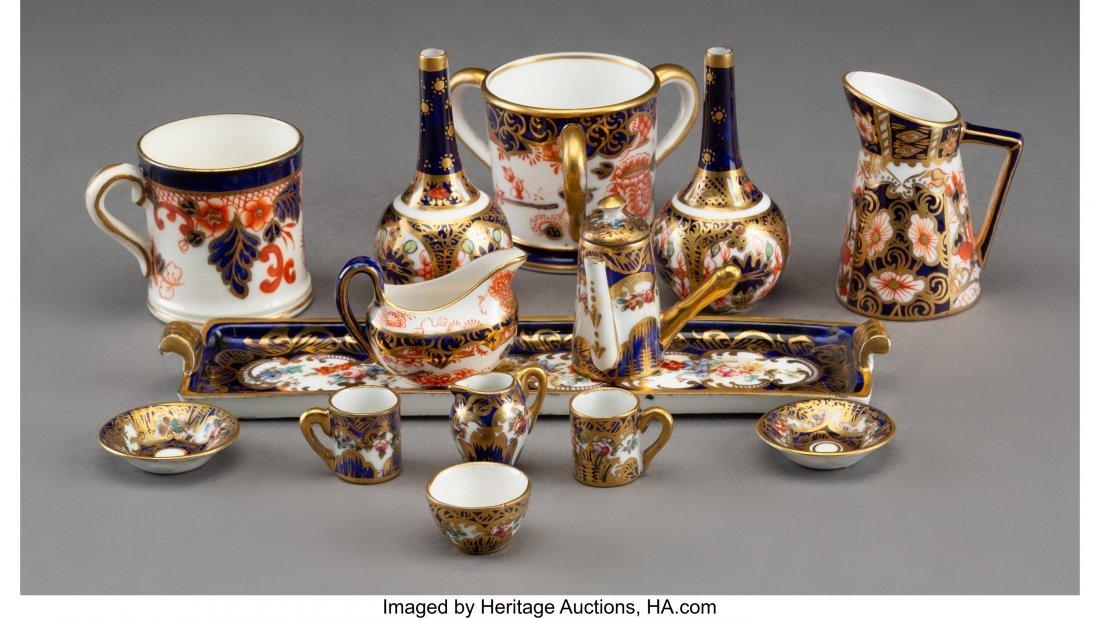 61896: Seven Royal Crown Derby Miniature Porcelain Tabl