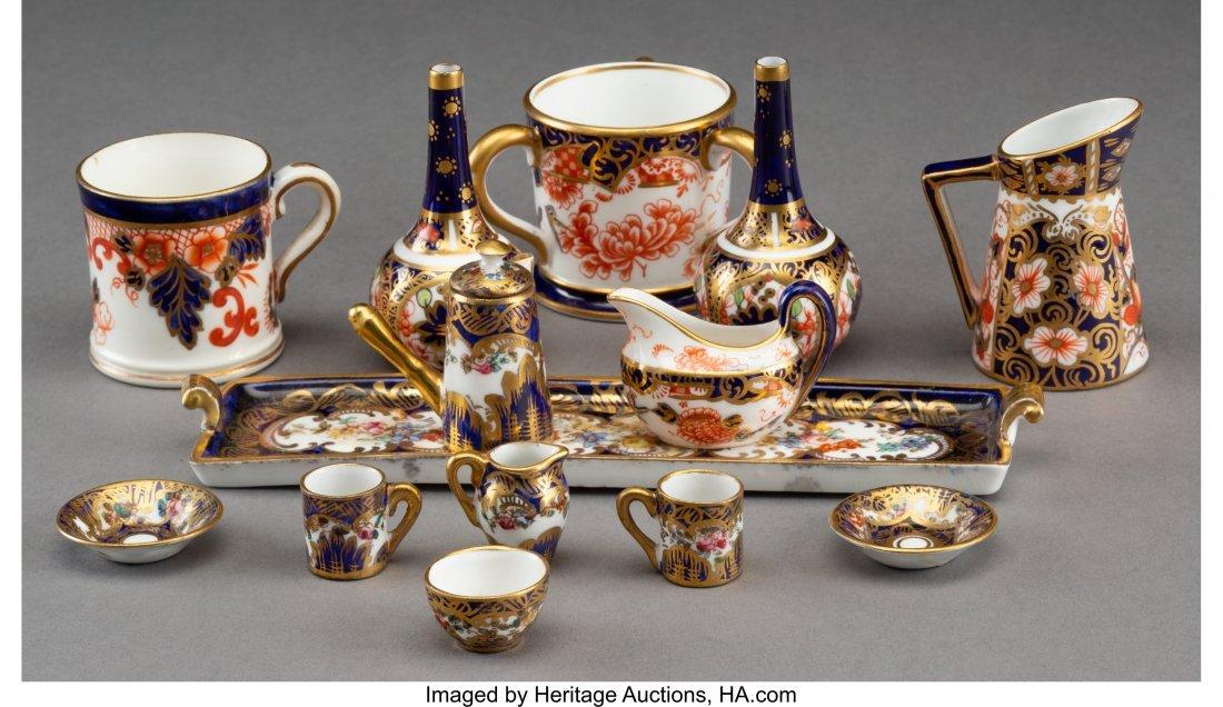 61896: Seven Royal Crown Derby Miniature Porcelain Tabl - 2