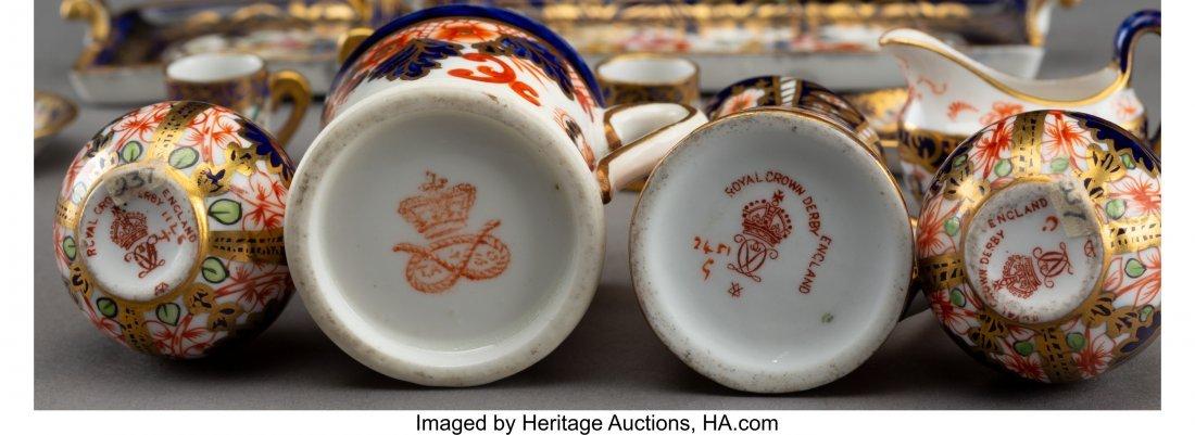 61896: Seven Royal Crown Derby Miniature Porcelain Tabl - 3