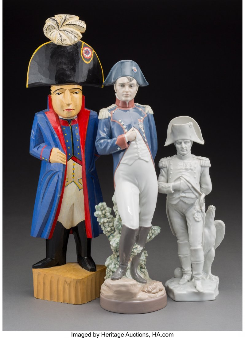 61905: Three Porcelain and Carved Wood Standing Figures