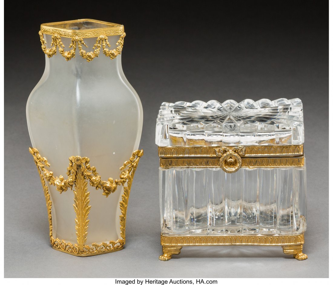 61730: Two Gilt Bronze Mounted Glass Table Articles, ea