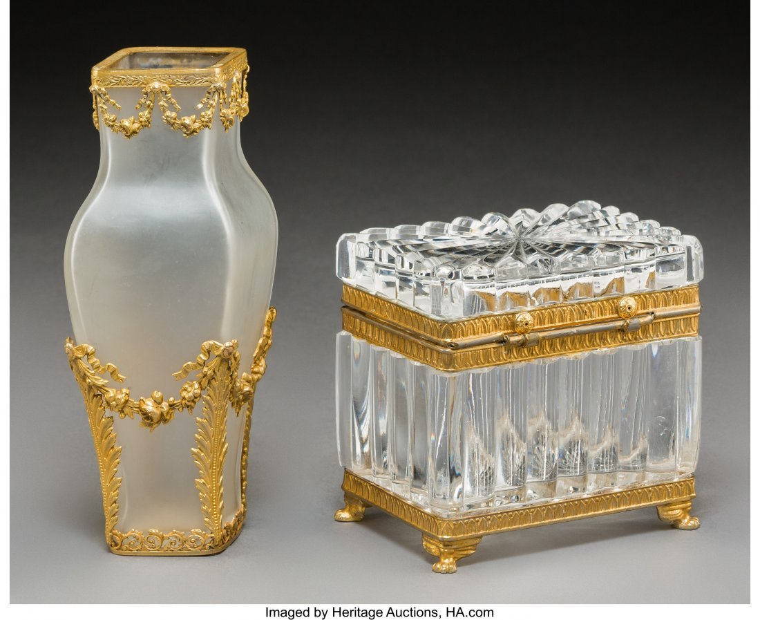 61730: Two Gilt Bronze Mounted Glass Table Articles, ea - 2