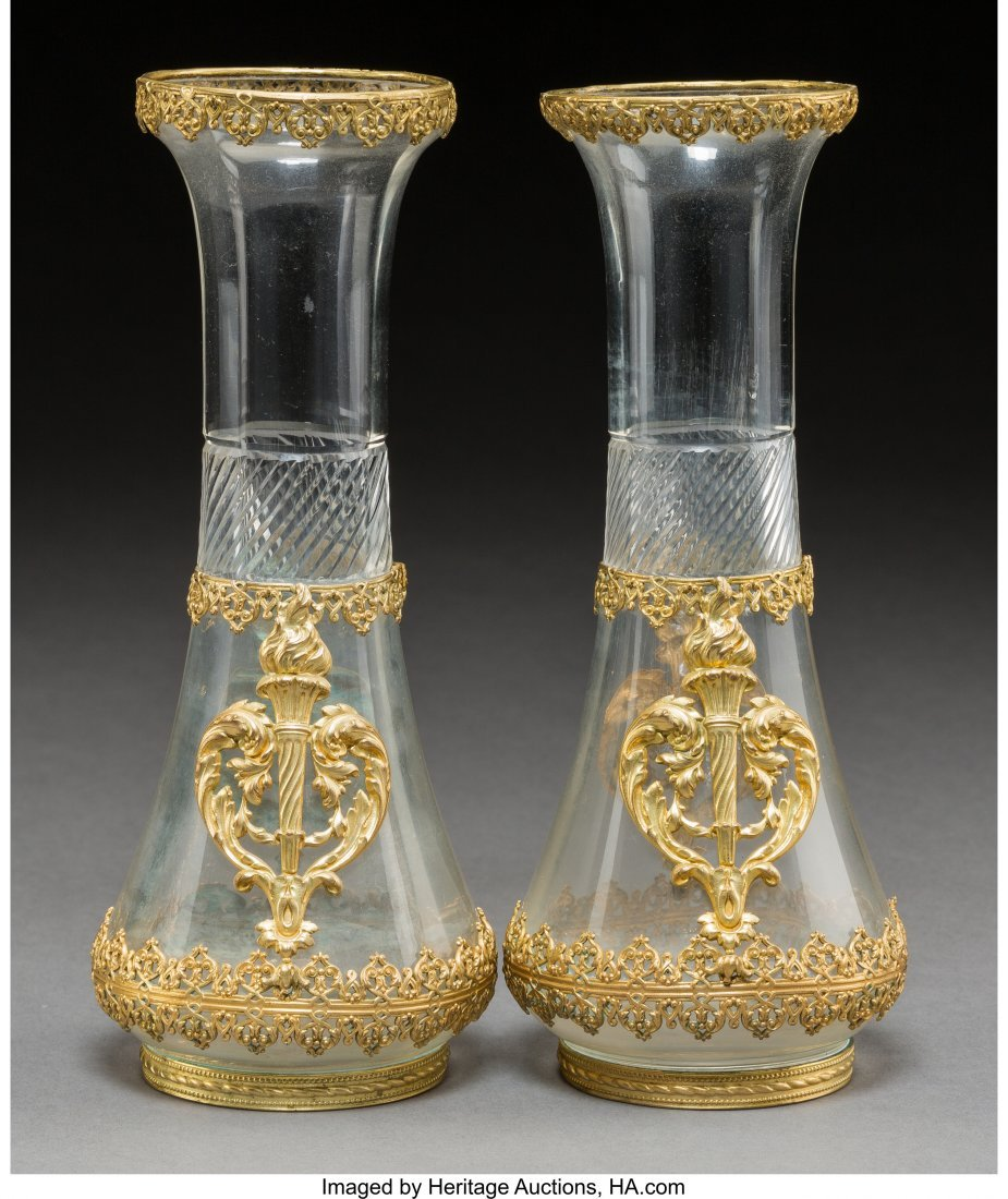 61732: A Pair of Baccarat-Style Gilt Bronze Mounted Cut
