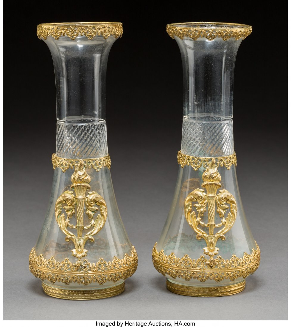 61732: A Pair of Baccarat-Style Gilt Bronze Mounted Cut - 2