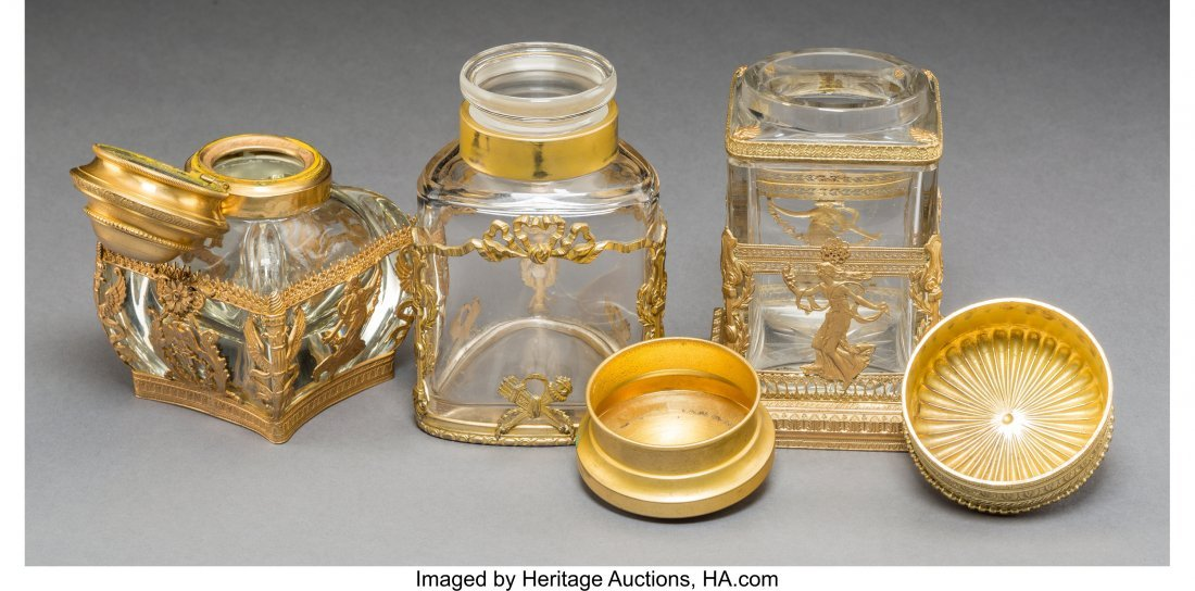 61733: Three Baccarat-Style Gilt Bronze Mounted Cut-Gla - 2